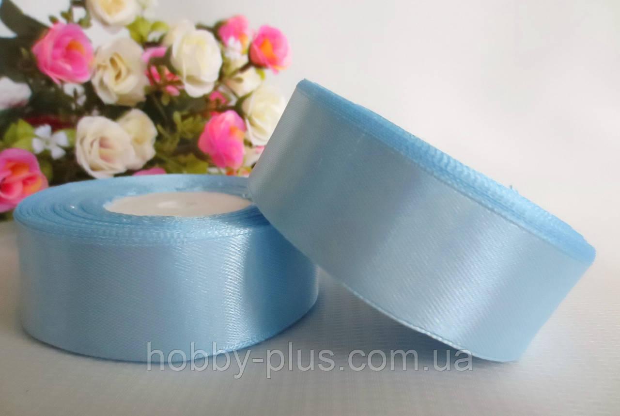 Атласная лента 2,5 см, цвет нежно-голубой
