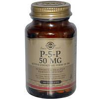 Пиридоксаль, витамин В6, Р5Р, Solgar, P-5-P, 50 мг, 100 таблеток