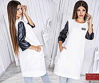 Женское стильное пальто с кожаными рукавами 715 \ молочное
