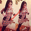 Модное трикотажное платье клетка + карман  5020