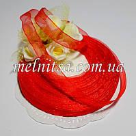 Лента из органзы, шир.10 мм, цвет красный, 1 рулон