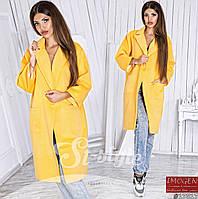 Женское стильное пальто 724\ желтое