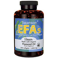 Льняное масло в капсулах, Омега 3-6, Swanson 1000 мг, 200 капсул