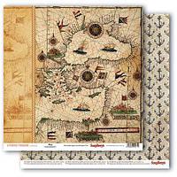 """Бумага от ScrapBerry""""s, Сокровища пиратов - Старинная карта, 30,5x30,5 см, 1 шт"""