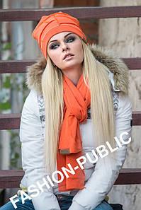 """Шапка+шарф оранжевого цвета """"Мозайка"""""""