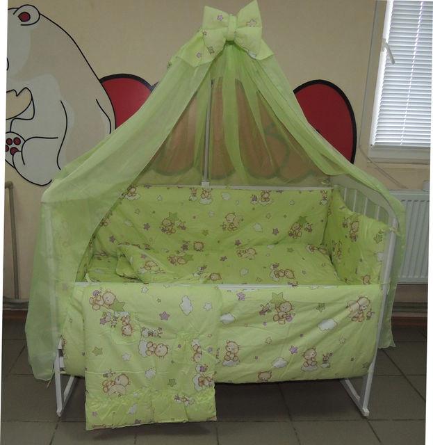 Комплект детского постельного белья Мишки пчёлка на облаке ТМ Bonna 9 в 1 салатовый