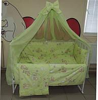 Комплект детского постельного белья Мишки пчёлка на облаке ТМ Bonna 9 в 1 салатовый, фото 1