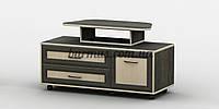 Передвижная TV-Тумба с выдвижными ящиками и стойкой под телевизор АКМ-241 Венге магия + Дуб молочный