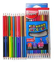 Карандаши 24-цвета-12штук, 2480 MAPED, двухсторонние