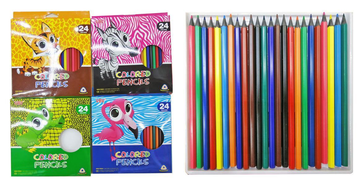 Карандаши 24-цвета, 530061-24 УДИВИТЕЛЬНЫЕ ЗВЕРИ, пластиковые