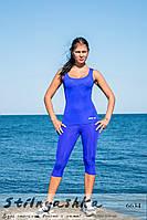 Спортивный костюм для фитнеса майка с легинсами индиго, фото 1