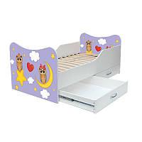 """Детская кровать с ящиками с рисунком """"Две совы"""""""