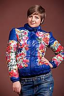 Женская куртка (осень/весна) Цветы  синяя