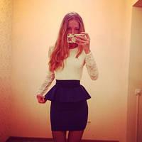 Женское Платье-баска гипюр синий