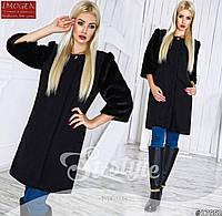 Женское стильное пальто с меховыми рукавами 797 \ черное