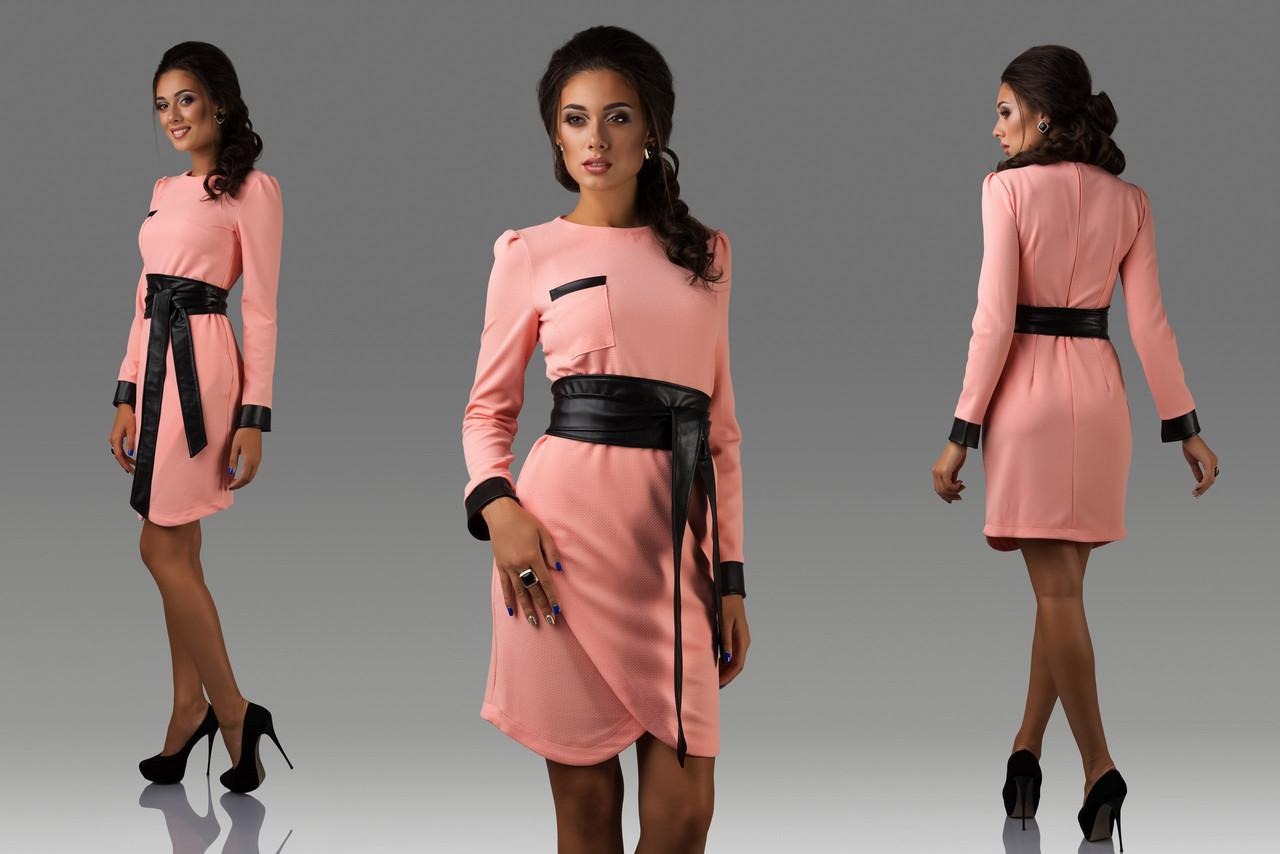 Платье рифленый трикотаж с эко кожей