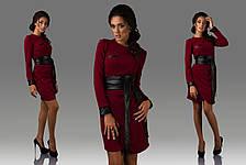 Платье рифленый трикотаж с эко кожей, фото 3