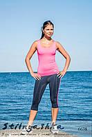 Спортивный костюм для фитнеса майка с легинсами черный с кораллом, фото 1