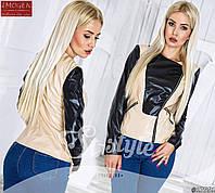 Женская стильная куртка на молнии из эко-кожи 605 \ бежевая