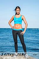 Костюм для фитнеса топ с легинсами черный с голубым, фото 1