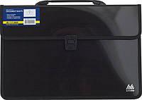 Пластиковый портфель Buromax BM.3732-01, 2 отделения, В4, черный с тканевой окантовкой.