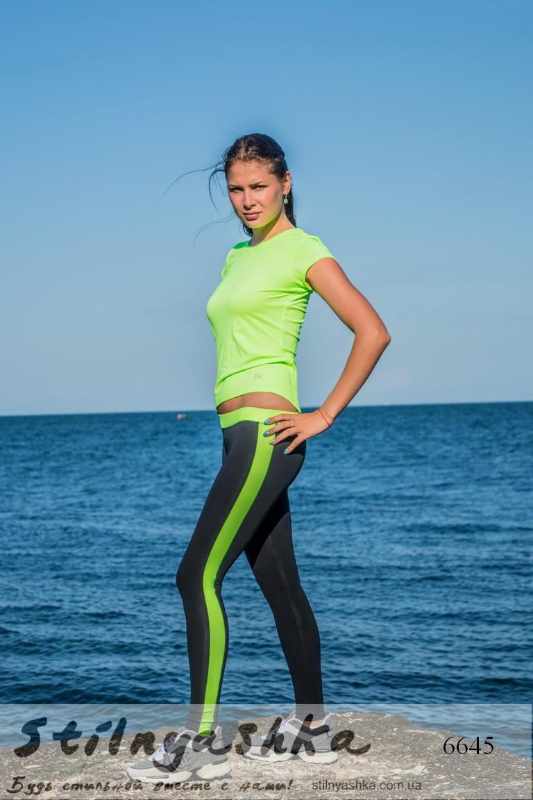 Костюм спортивный футболка с легинсами черный с салатом, фото 1