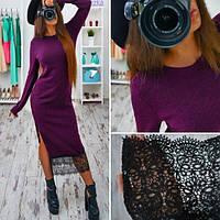 Платье из ангоры с разрезом и дорогим кружевом 5 цветов SMb615