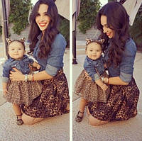 Набор комбинированное платье мама и дочка