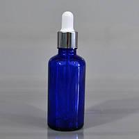Флакон с пипеткой-капельницей (синий, стекло) 50 мл.