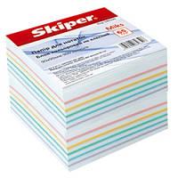 Блок бумаги для записей микс белая+цветная 90х90/900л . не склеенный Skiper Sk-2711