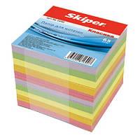 Блок бумаги для записей цветной Классика 90х90/900л. не склеенный Skiper Sk-4711