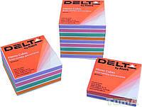 Бумага для заметок цветная MIX непроклеенная Delta by Axent,90Х90Х30мм D8013