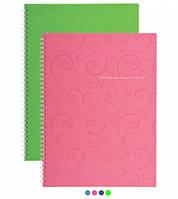 Тетрадь для записей на боковой пружине Barocco А4, 80 лист., клетка, обложка пластик цвета ассорти, BUROMAX BM