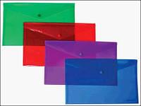 Папка-конверт А4, на кнопке, FORMAT, прозрачная F38301