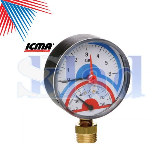 Icma Термоманометр радіальний з запірним клапаном. 10 бар