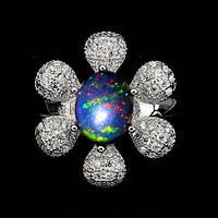 Кольцо-Цветок с натуральным австралийским ЧЕРНЫМ ОПАЛОМ и фианитами (куб. цирконием)