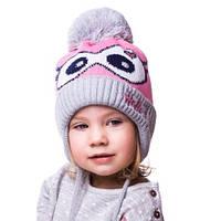 Детская вязаная шапка на девочку очки
