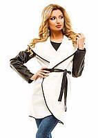 Женское Тренч пальто рукав эко-кожа р. S.M.L  молочный