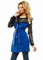 Женское пальто кожаный  рукав  р.42,44,46 - электрик