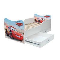 """Детская кровать с ящиками с рисунком """"Машина"""""""
