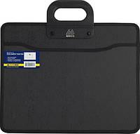 Пластиковый портфель Buromax BM.3733-01, 2 отделения, В4, черный с тканевой окантовкой.