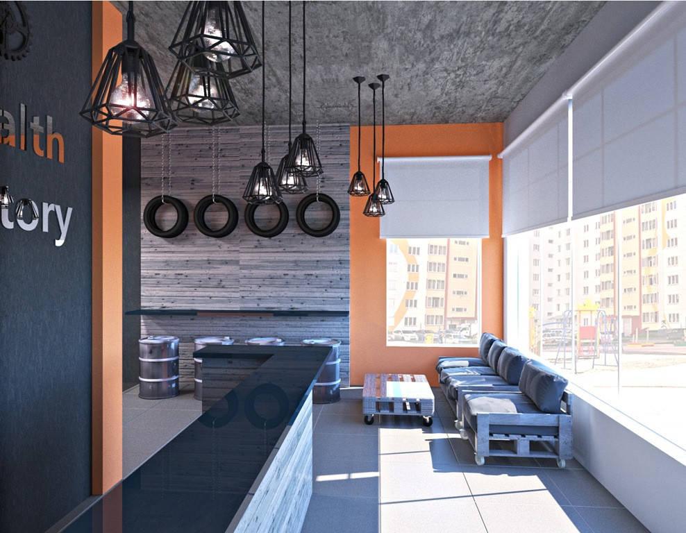 Дизайн интерьера фитнес-клуба Health factory в Одессе