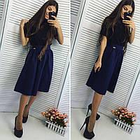 Красивая женская расклешенная юбка по колено, материал габардин, темно синяя