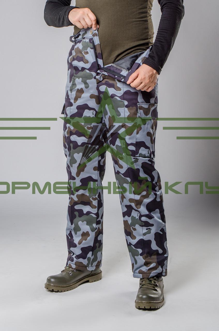 Утепленные штаны камуфляж синий