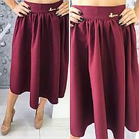 Красивая женская расклешенная юбка по колено, материал габардин, бордовая
