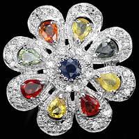 Кольцо-цветок с цветными САПФИРАМИ и фианитами