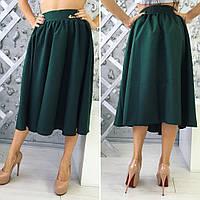 Красивая женская расклешенная юбка по колено, материал габардин, зеленая