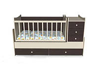 Кроватка для новорожденных трансформер 4 в 1 (с маятником) Панда от 0 до 15 лет