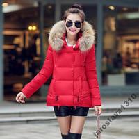 Стильная короткая куртка пуховик с молниями капюшон мех зима