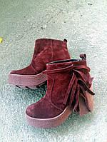 Женские замшевые ботиночки  бордовые.